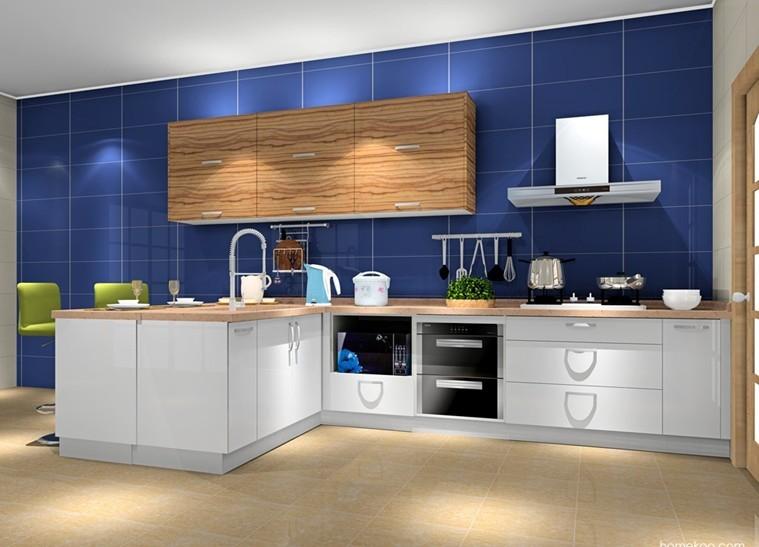 $ j* h& d2 n, o  奶白色的地柜,清新木纹的吊柜,深蓝色