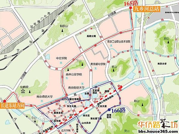 南京地铁2号线和4号线将分别从紫金山南北两侧进入仙林,在仙林新市区南侧交汇后,在仙林内部形成 环状轨道交通网,连接新市区各功能分区,并在沿途设10个站点。 地铁2号线东延线2010年已建成通车,仙林到新街口核心地段的时间将大大减少到20分钟,马群至仙林 有八个站点:马群—金马路—仙鹤门—学则路—仙林中心—羊山公园—南大仙林校区—经天路。 除了南京地铁2号线和4号线,还有远景规划的,仙林内部轻轨线路。 公交线路: 50路:公