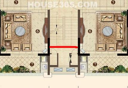 小高层因为有电梯厅,楼梯,所以门大一些,高层门厅进去后,一边是楼梯