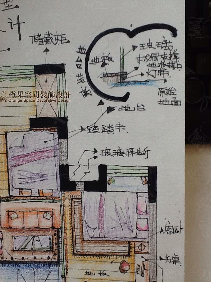细节描绘榻榻米地台结构