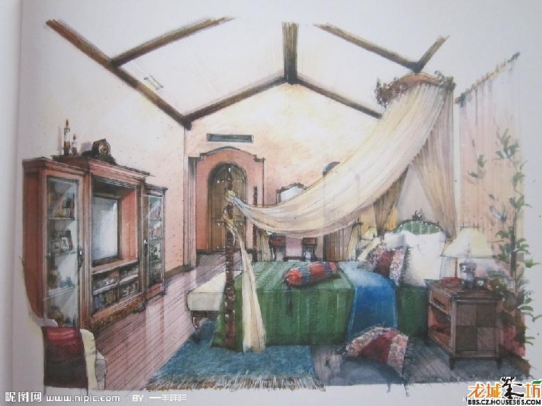 > 室内彩铅手绘效果图