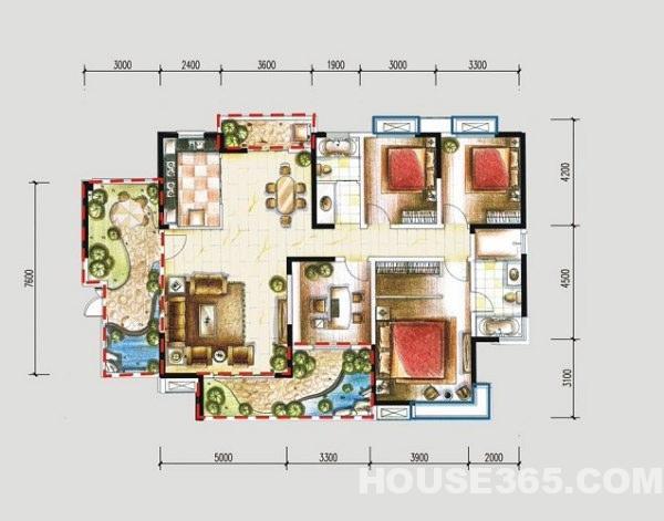 农村一层平房 四房两厅两卫设计图展示