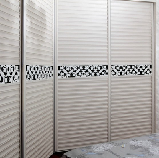 索菲亞c5白色百葉推拉門定制衣柜定做環保移門