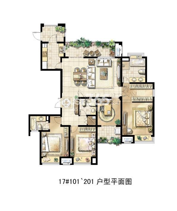 绿地中央广场17#101~201户型平面图