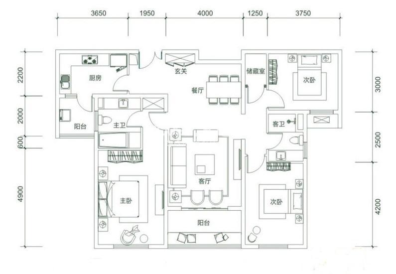 白桦林明天C3户型3室2厅2卫1厨 133.00㎡