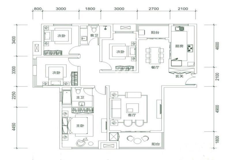 白桦林明天D4户型4室2厅2卫1厨 160.00㎡