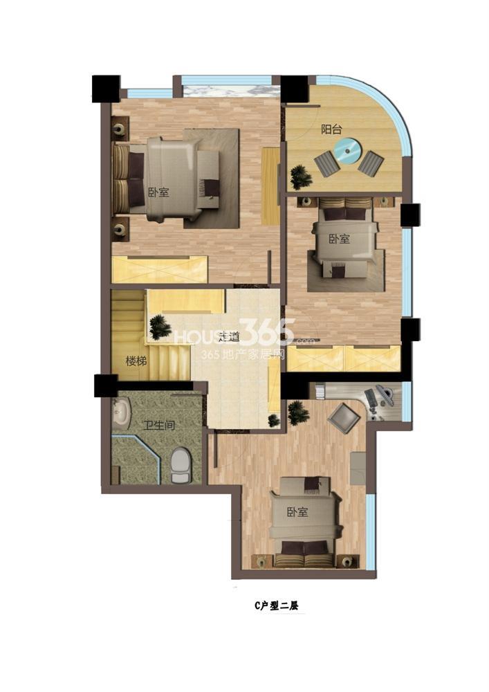 东方红郡公寓C户型二层