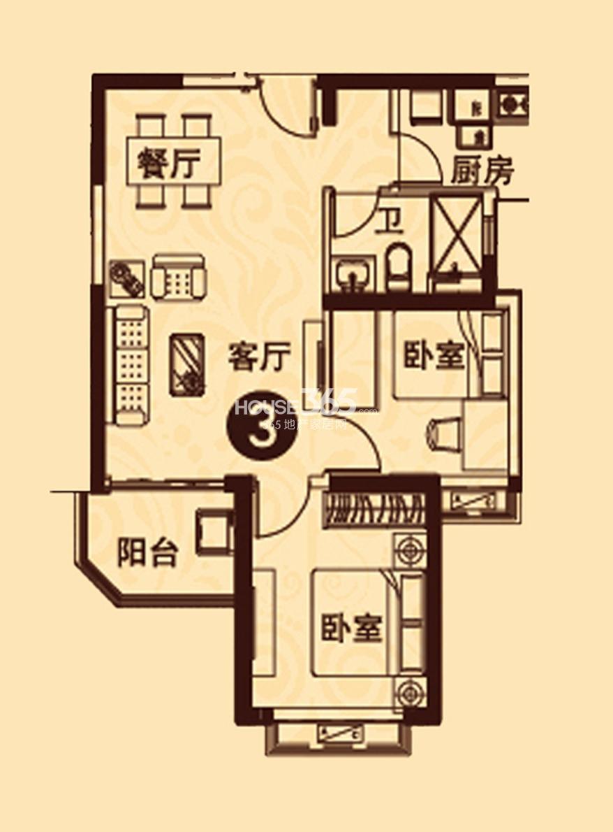 恒大城5#楼03室86.89㎡户型图