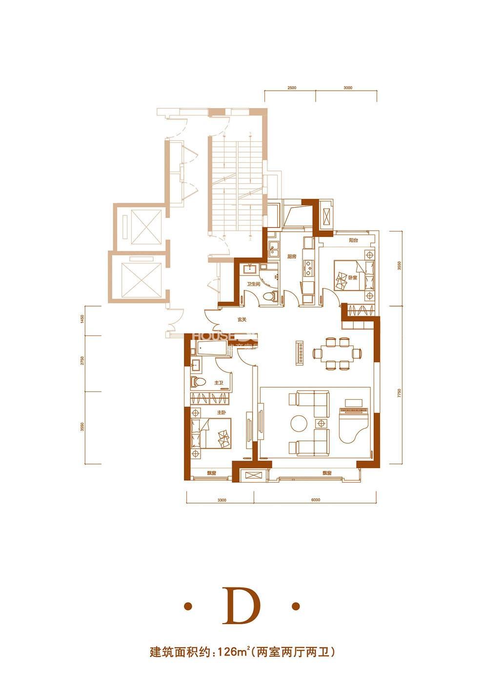 2室2厅2卫 126平米(在售)