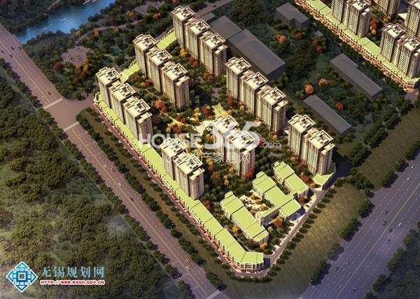 无锡万达文化旅游城住宅局部鸟瞰图