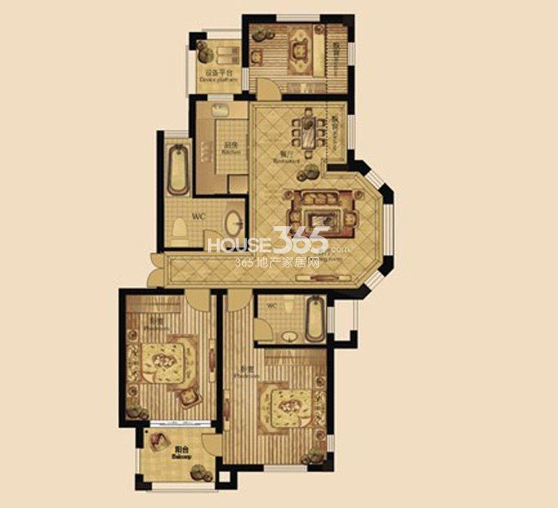 户型图 3室2厅2卫 120.00_泰州中远依云湾_泰州新房网