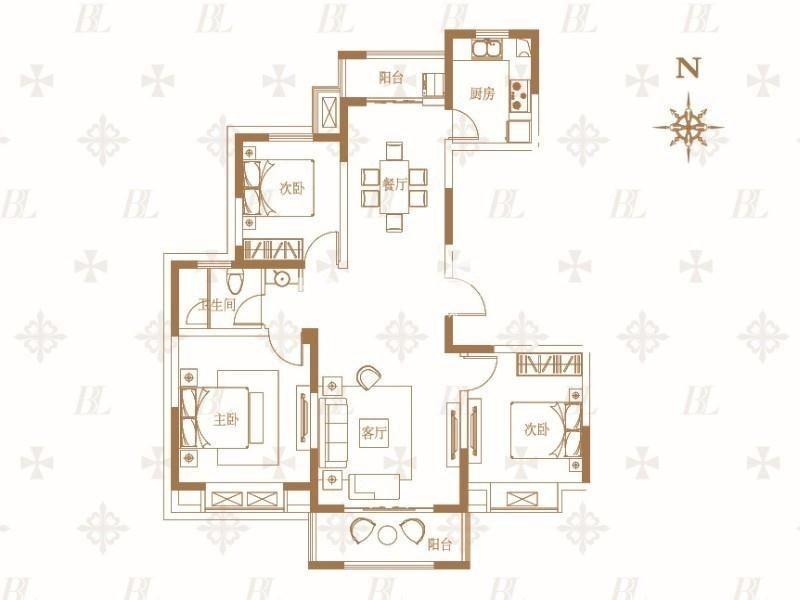 户型图 B户型三室两厅一卫 117
