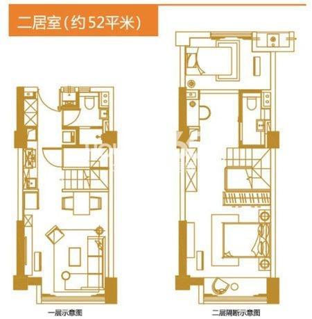 户型图 万科YOHO公寓二居室52平米