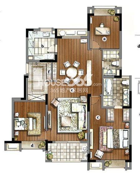 户型图 万科金域蓝湾三房两厅两卫140平米