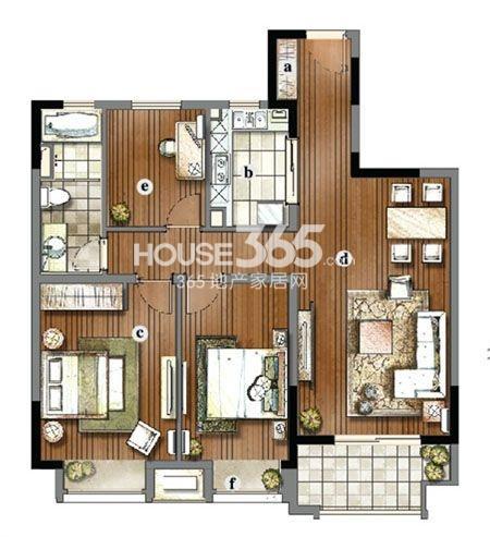 户型图 万科金域蓝湾三房两厅一卫105平米