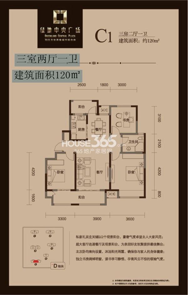 绿地中央广场 C1三室两厅一卫 120平米
