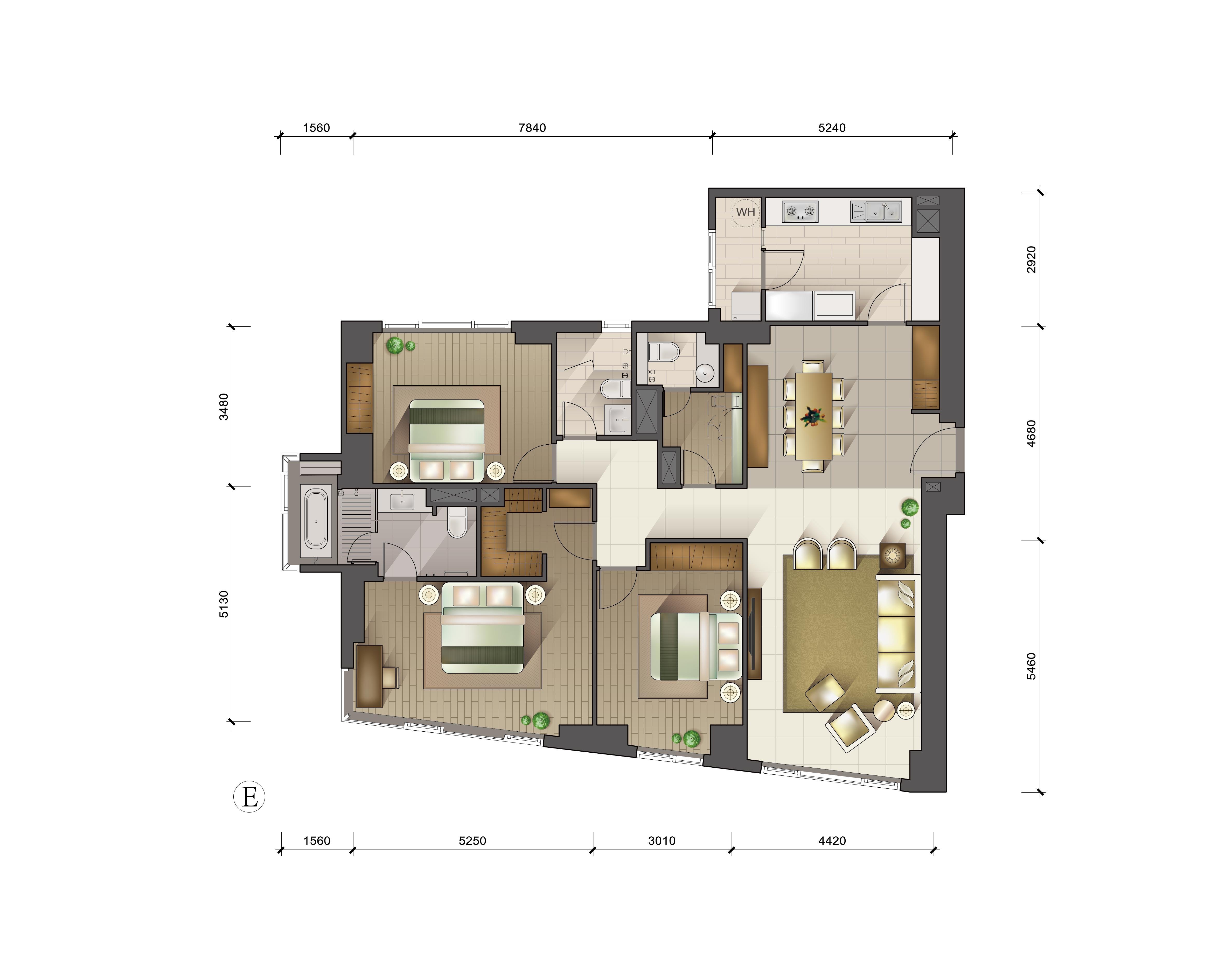 户型图 E户型三室两厅三卫 186