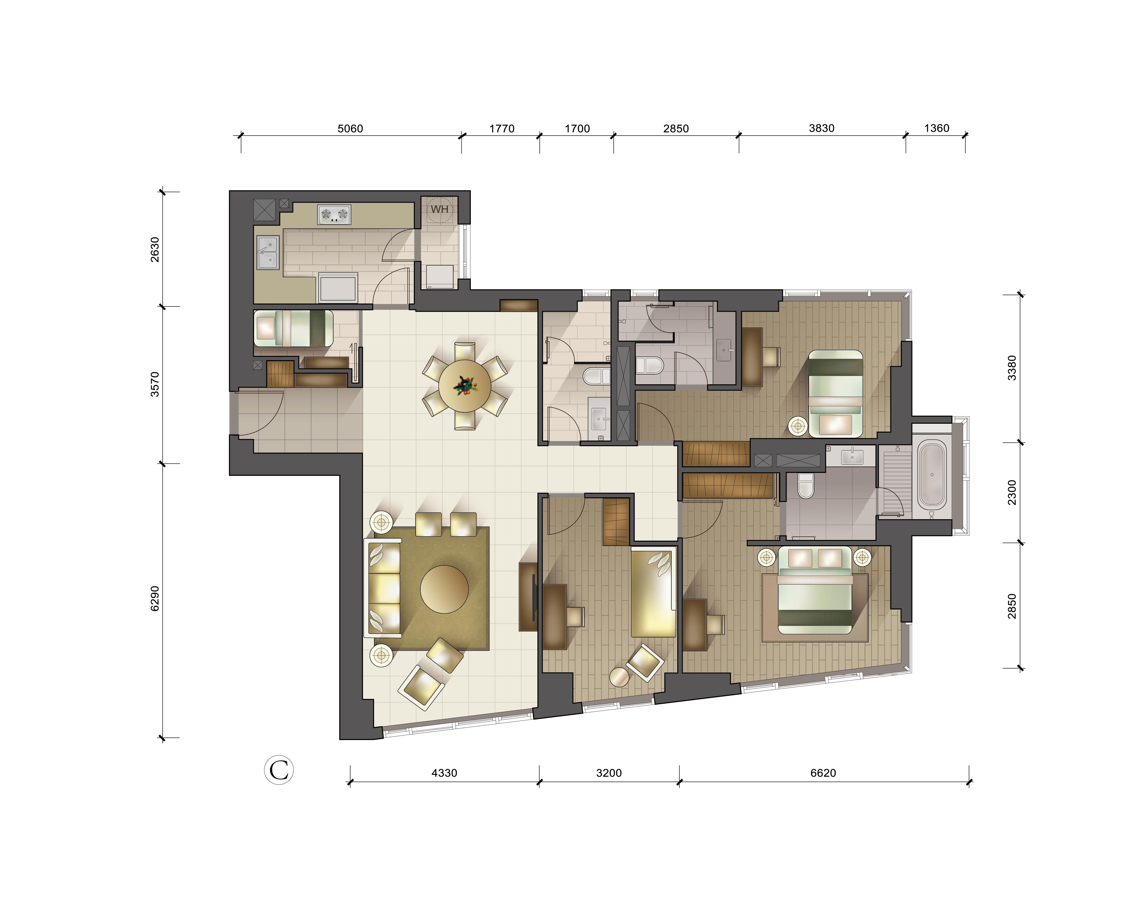 户型图 C户型三室两厅三卫 191