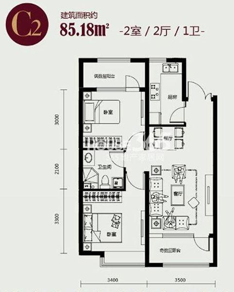 丽都新城三期丽十二公馆两室户型图大全