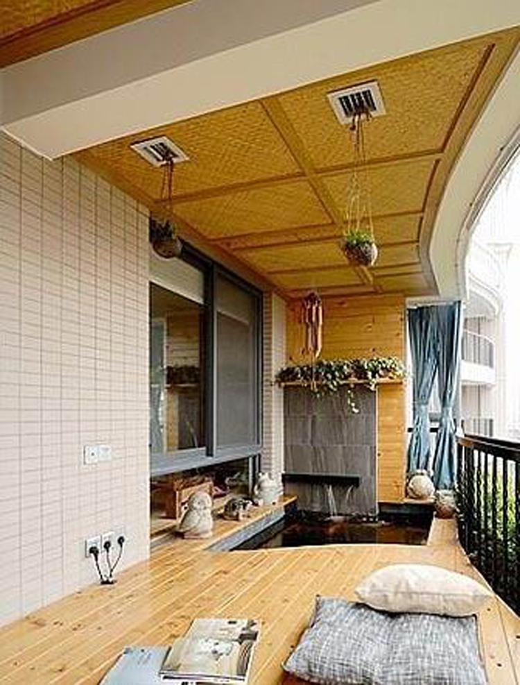 成都花园装修—别致小阳台设计;; 精致灰色地砖 打造简约风格阳光美家图片