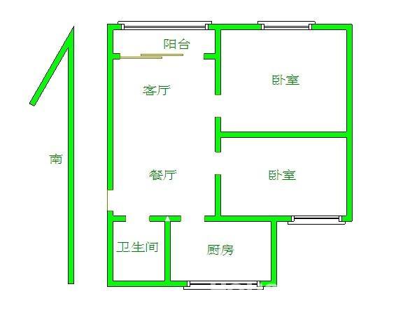 96平方两房一厅设计图