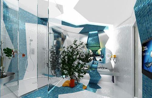 创意卫生间装修图片 巧用马赛克打造情趣空间-365