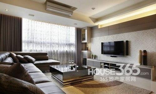 客厅装修效果图欣赏:深色主调的客厅设计,大面积的户型让客厅装修不