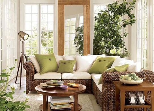 田园风格客厅装修图片自然编制的个性沙发