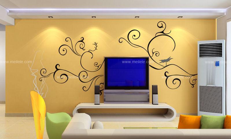 赏析客厅手绘墙图片 一样的设计不一样的墙面