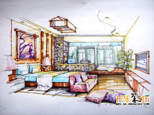 卧室手绘效果图 ,高大上的视觉效果图